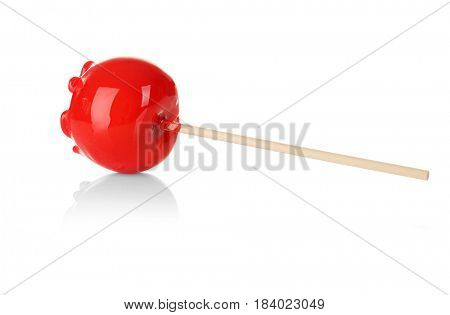 Candy apple on white background