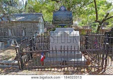 BEAUFORT SOUTH CAROLINA - APRIL 16 2017: The grave of Richard Heron Anderson Lieutenant General in the Confederate States of America in the churchyard cemetery of Saint Helena's Episcopal Church