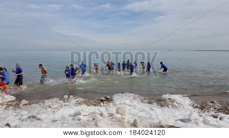 Chicago Polar Bear Club plunge Oak Street Beach, Chicago, January, 30th, 2016