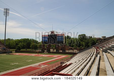 Miami University Yager Stadium scoreboard in endzone, May 30th, 2016