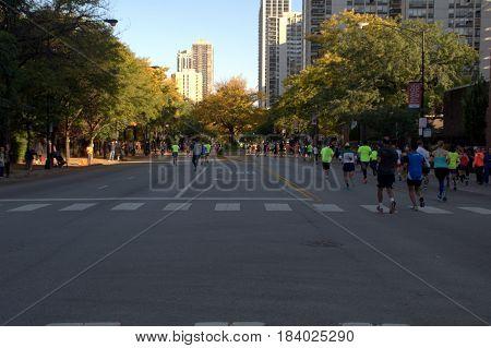 runners on LaSalle Boulevard, Chicago Marathon, October 9th, 2016