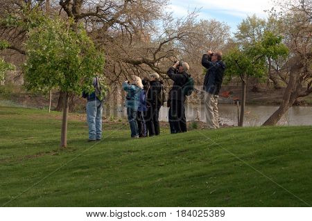 group of people bird watching in the morning in Jackson Park, Chicago, May 22nd, 2017