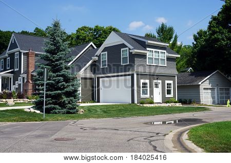HARBOR SPRINGS, MICHIGAN, UNITED STATES - AUGUST 4, 2016: The attached garage of a new home, designed and built by Bob Michels, in Harbor Springs.