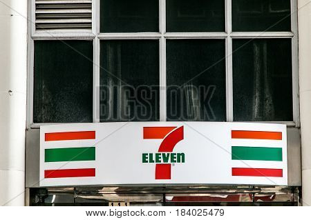 New York April 28 2017: The sign over an entrance to Seven Eleven joint in downtown Manhattan.