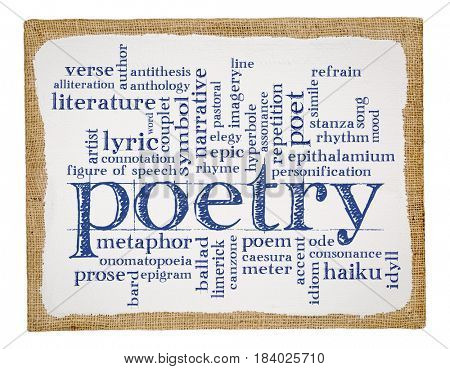 poetry word cloud - handwriting on a stretched and primed burlap art canvas