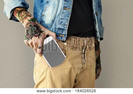 Woman Tattoo Holding Digital Device