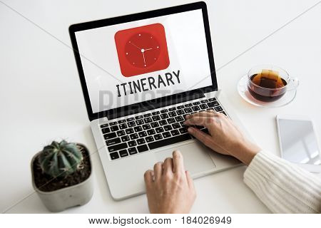 Itinerary red analog alarm clock icon