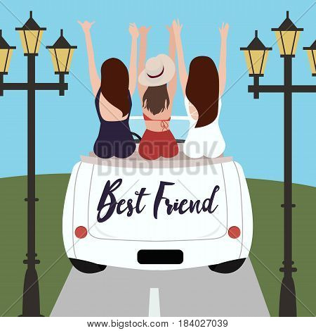 Group of best friends cheering on car road trip. Happy people outdoor on vacation tour adventure. Friendship concept at travel together around world