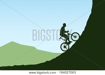 illustration of bicycle rider silhouette in mountains with blue sky