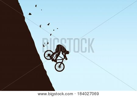 illustration of fast riding down bicyclist silhouette in mountains