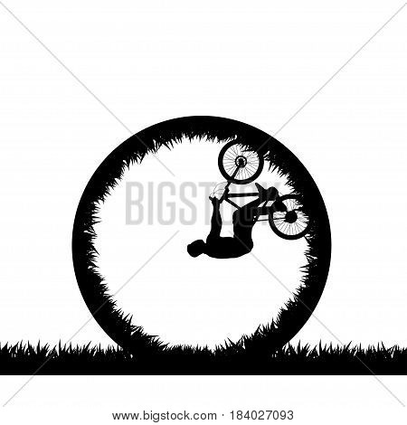 illustration of extreme rider silhouette making stunts on white background
