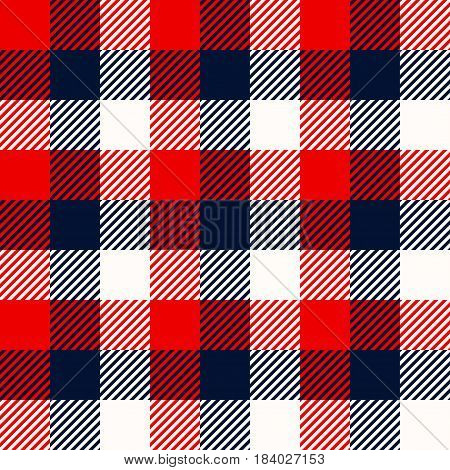 illustration of red and blue squares lumber textile seamless background