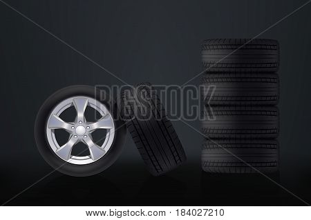 illustration of group realistic car wheels on dark background
