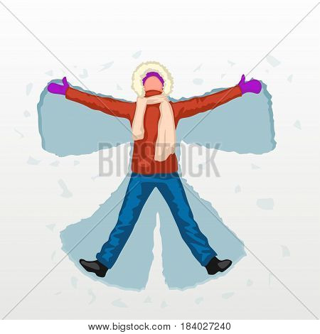 illustration of woman colored silhouette making snow angel