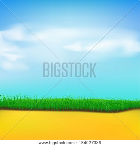 illustration of blue sky with clouds and green grass with sand