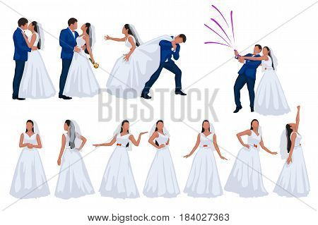 illustration of groom and bride color silhouettes in different poses isolated on white background