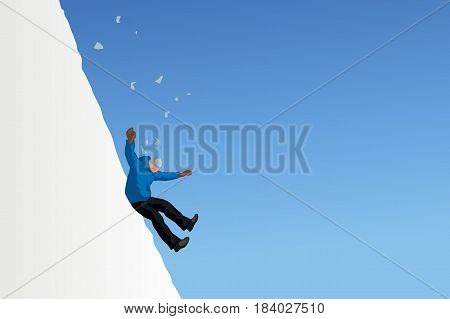 illustration of man slipped and falling down from mountain