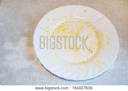 Dirty plate at the end eating. Dirty dish on the table.