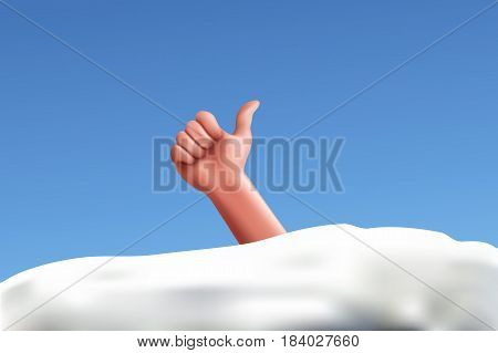 illustration of hand sticks out from white snow under blue shiny sky