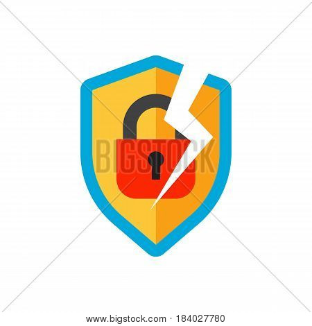 Lock icon security protection safety password sign privacy element and access shape open. Private safeguard modern firewall equipment vector illustration.