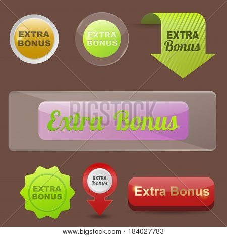 Colorful website extra bonus buttons design vector illustration glossy graphic label internet template banner. Rounded blank menu reflection business navigation download interface.