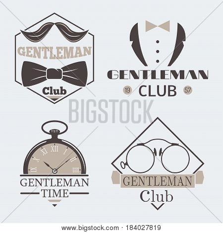 Vintage style pocket watch gentleman logo vector illustration badge antique graphic design mustache element. Premium quality man shop stamp classic haircut fashion moustache barber sign.