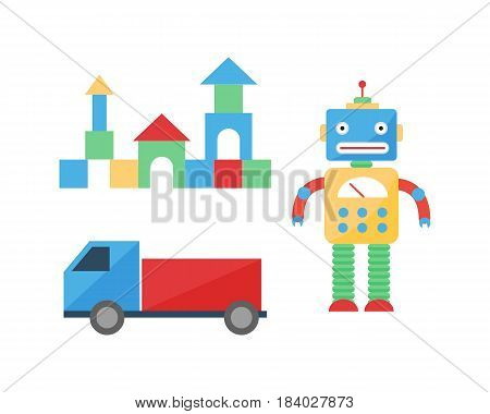 Baby toys room decor children different playroom style cute cubes happy decor car vector. Apartment design infant nursery childhood boy fun robot decoration illustration.