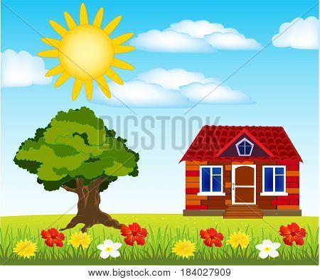 Small house on year glade with flower and sun with cloud
