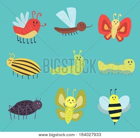 Colorful insects icons isolated wildlife wing detail summer worm and caterpillar bugs wild spider bee vector illustration. Nature pest ladybird mosquito small art sign.