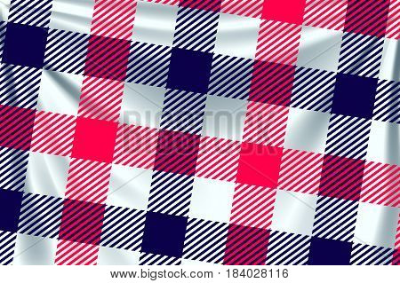 illustration of two colored red and blue square textile background with creases