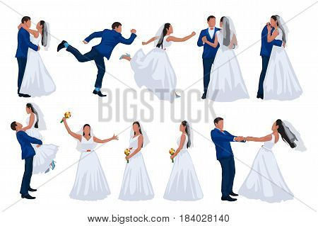 illustration wedding set of groom and bride in different poses isolated on white background