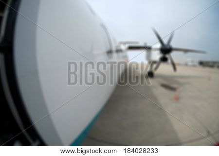 Blur background of airplane's air propeller for design