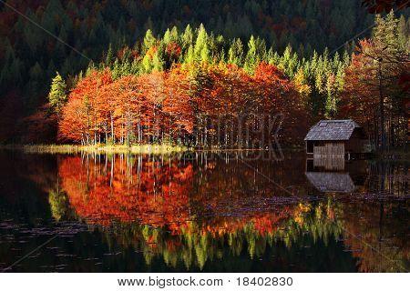 beautiful autumn landscape on a lake