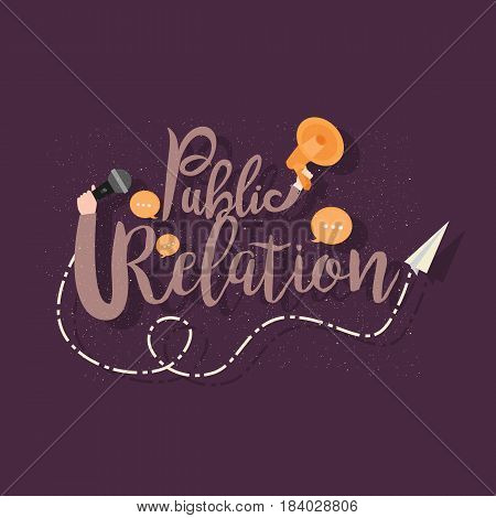 Public relations. text lettering concept of publicity in business and education vector