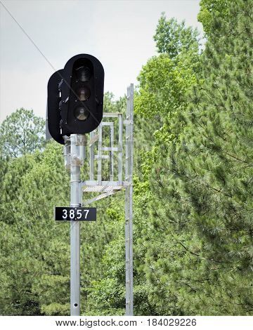Railroad Signal along the track of the South.