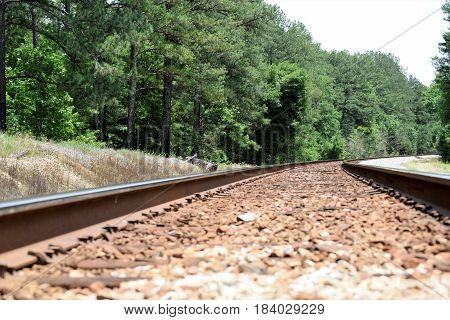 Railroad Tracks winding through the Southern countryside.