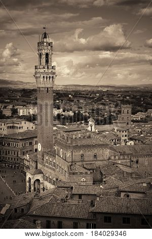 Medieval town Siena skyline view with historic buildings and Town Hall Bell Tower in Italy