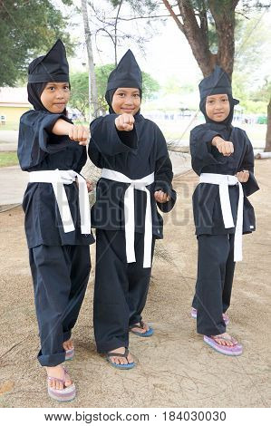 Labuan,Malaysia-Apr 29,2017:Brunei kids of Labuan in traditional martial art silat costume during performed at Malay Wedding Ceremony at Labuan,Malaysia on 29th April 2017.