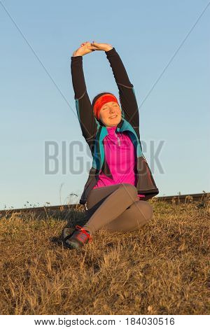 Morning Gymnastics Of Athletic Woman For Run