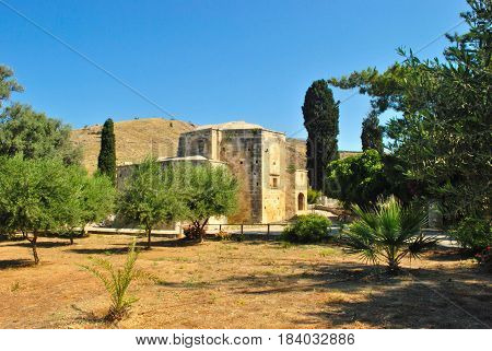 view of part of Saint Titus Basilica of Gortyn ancient city formerly once one of the largest and most important cities of the island of Crete
