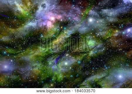 Bright abstract background with many different stars glowing nebulae and cloud formations in deep space