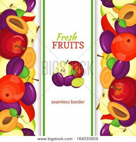 Apple plum vertical seamless border. Vector illustration fruit coposition Yellow red and green apples plums fruits whole and slice for packaging design of juice jam breakfast healthy eating detox diet