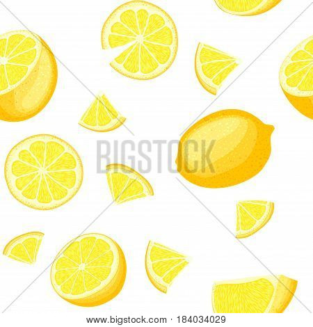 Ripe juicy tropical lemon background. Vector card illustration. Fresh citrus yellow lime fruit peeled, piece of half, slice. Seamless pattern for packaging design healthy food diet juce, detox, tea