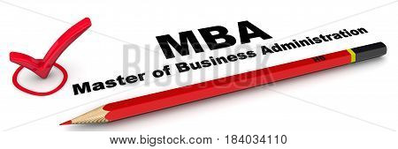 MBA. Master of Business Administration. The check mark