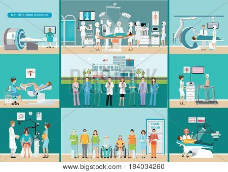 Doctors and patients in hospitals Medical services dental care x-ray Orthopedic clinics MRI scanner machine ophthalmic testing device machine C Arm X-Ray health care conceptual vector illustration.