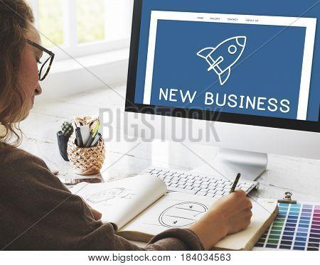 Development Entrepreneur Spaceship Rocket Graphic Concept