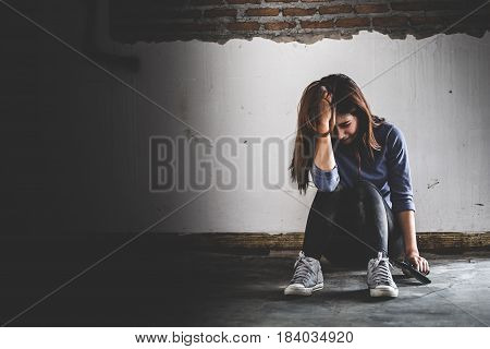 Sad Women Who Are Thinking About Suicide Committed By Guns. Social Problems Concept.