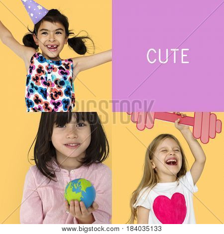 Young Kids Enjoyment Happiness Fun Studio Portrait Collage