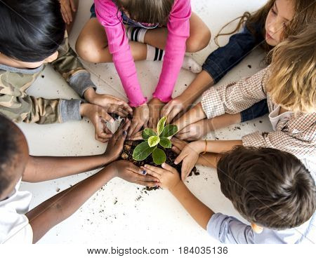 Environmental conservation children planting for nature