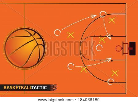 Showing a basketball court with arrows representing a game plan. vector illustration.